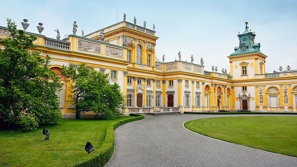 Driveway and entrance to Wilanow Palace in Warsaw