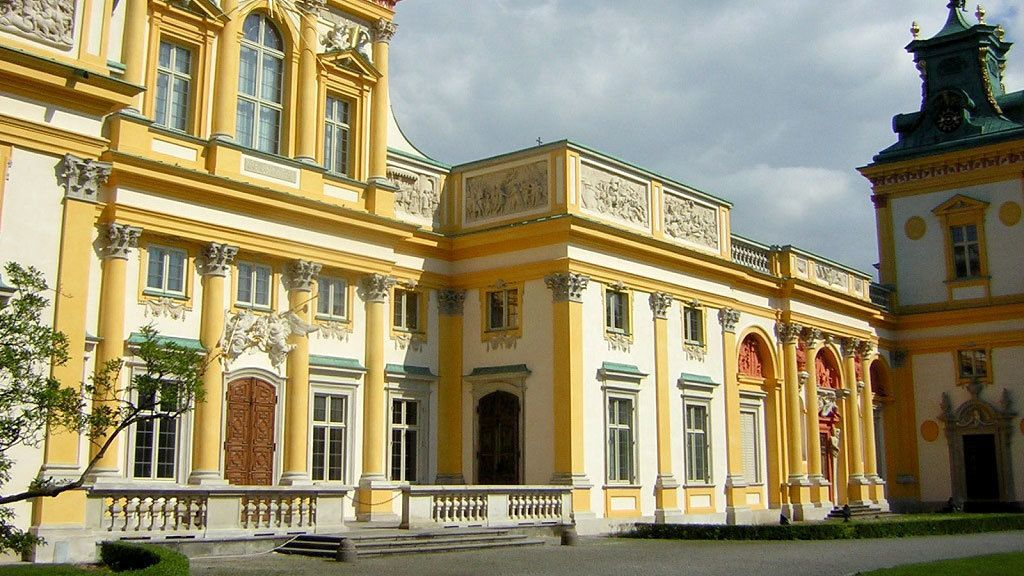 Yellow and white exterior of Wilanow Palace in Warsaw