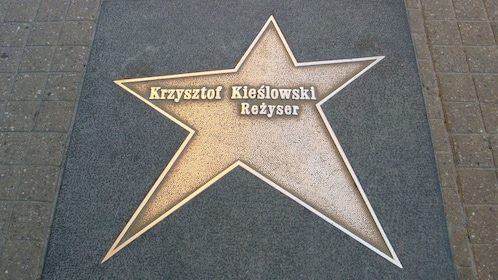Star with Polish film director's name on the sidewalk in Lodz
