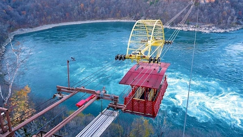 taking a lift over the waters in Niagara Falls