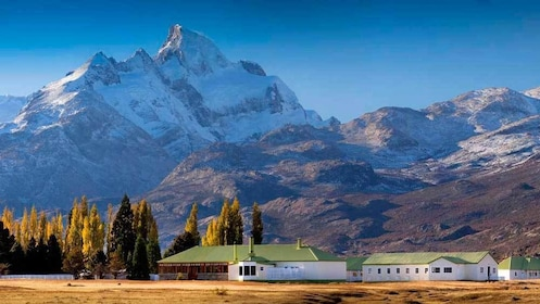 establishments near the foot of snow capped mountains in Argentina