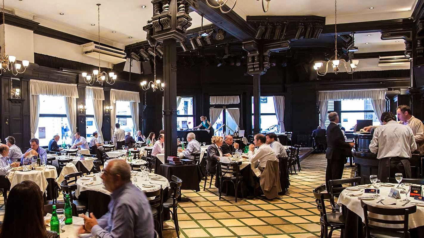Interior view of dinner restuarant.