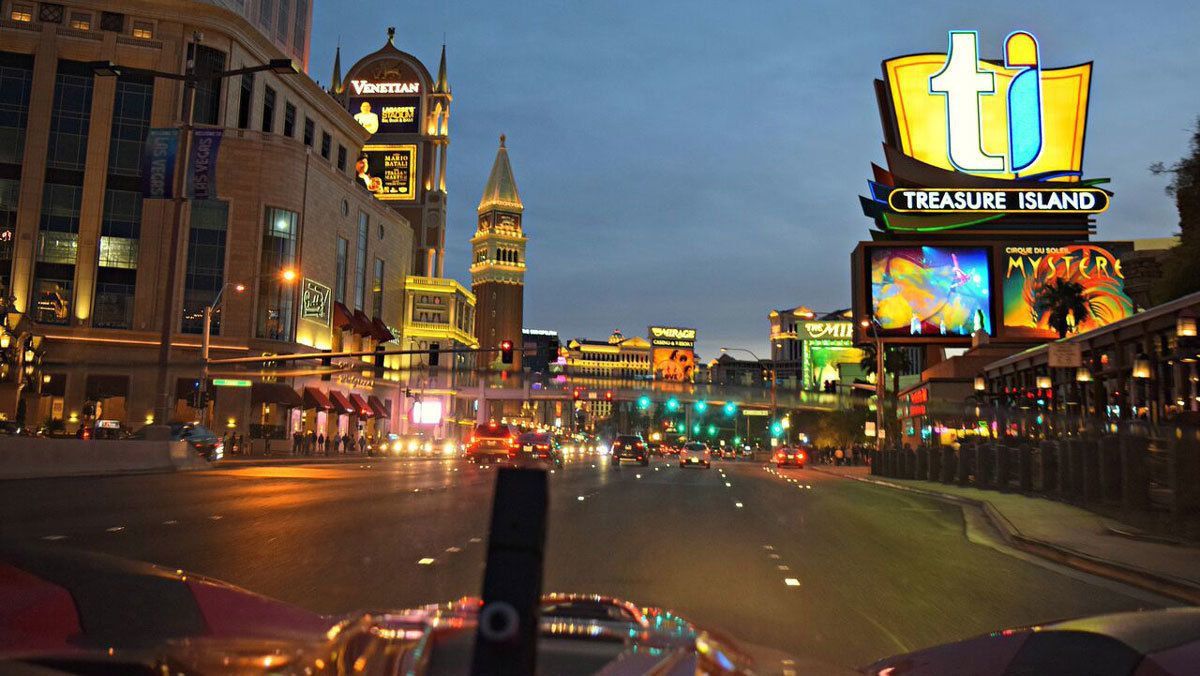 on the road in Las Vegas at night