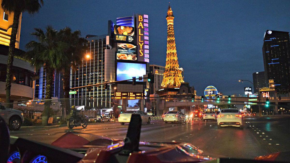 driving around Las Vegas at night