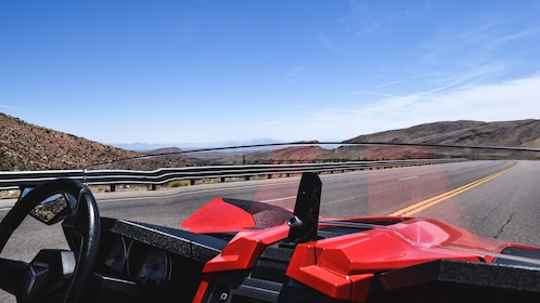 View of road from divers seat of Slingshot.