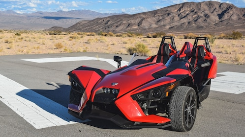Angled view of parked Slingshot.