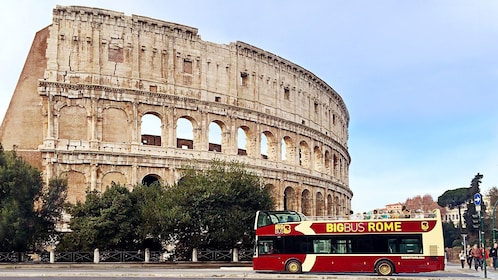 Hop-on Hop-off bus at the Colosseum in Rome