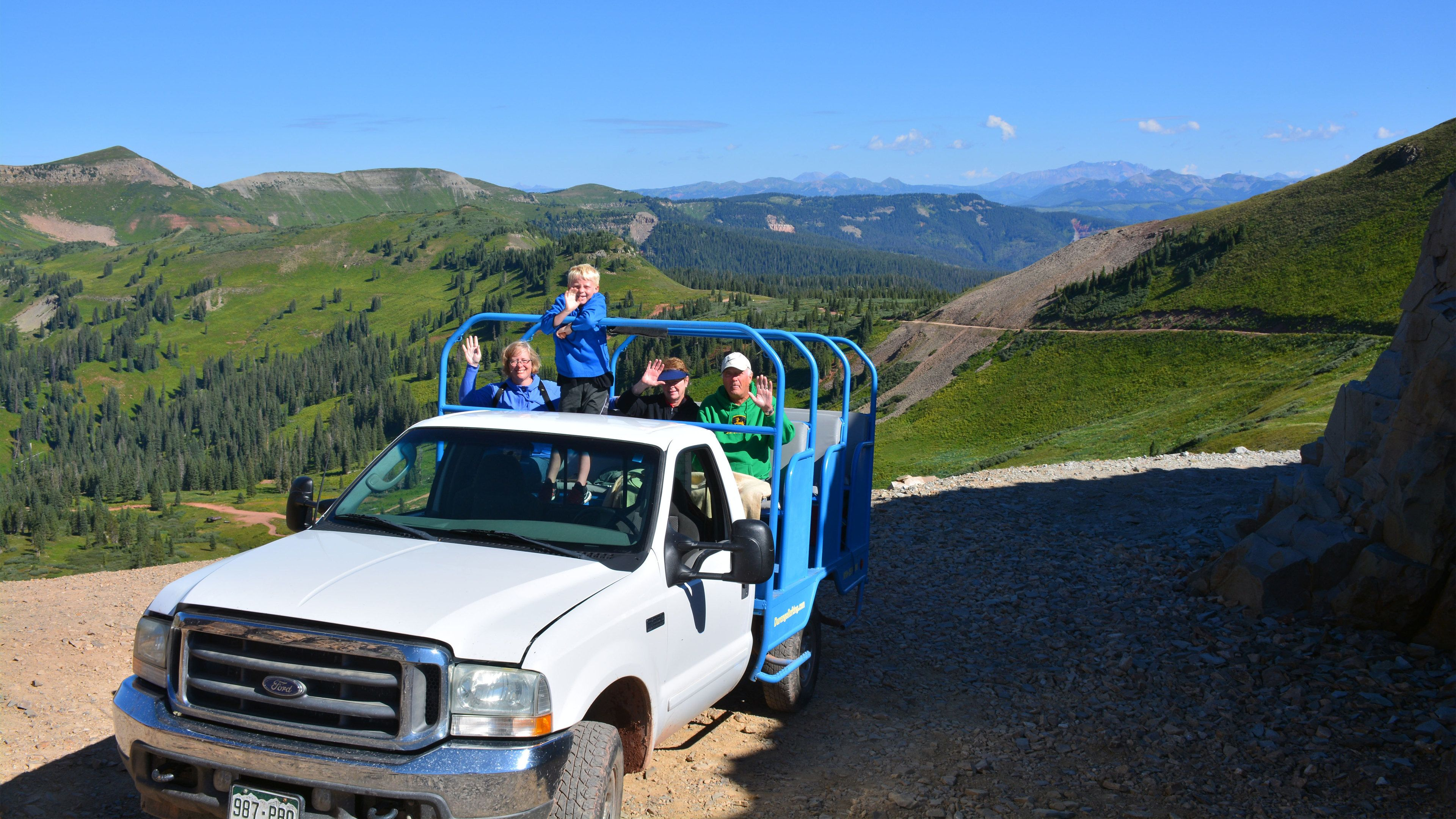 Tour group on a dirt road in the mountains in Denver