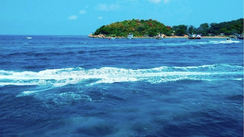 Beautiful blue water of Coral Island