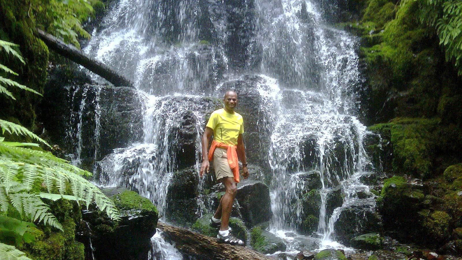 Man hiking at the Gorge Waterfalls in Portland