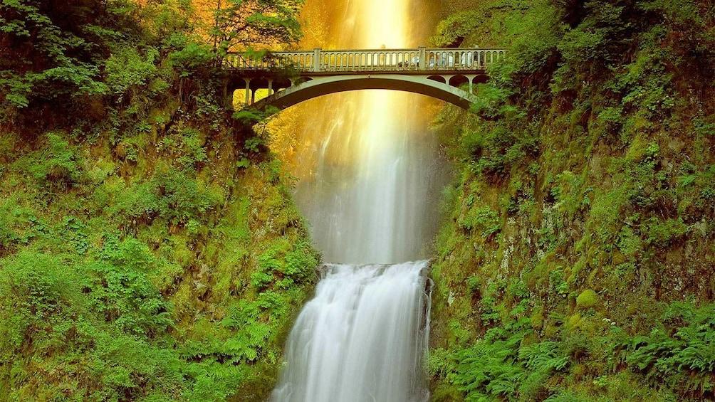 Show item 1 of 10. Sunset view of Multnomah Falls in Portland