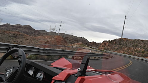 View of road from Slingshot driver's seat.