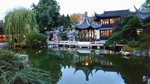 Evening view of the Chinese garden in Portland