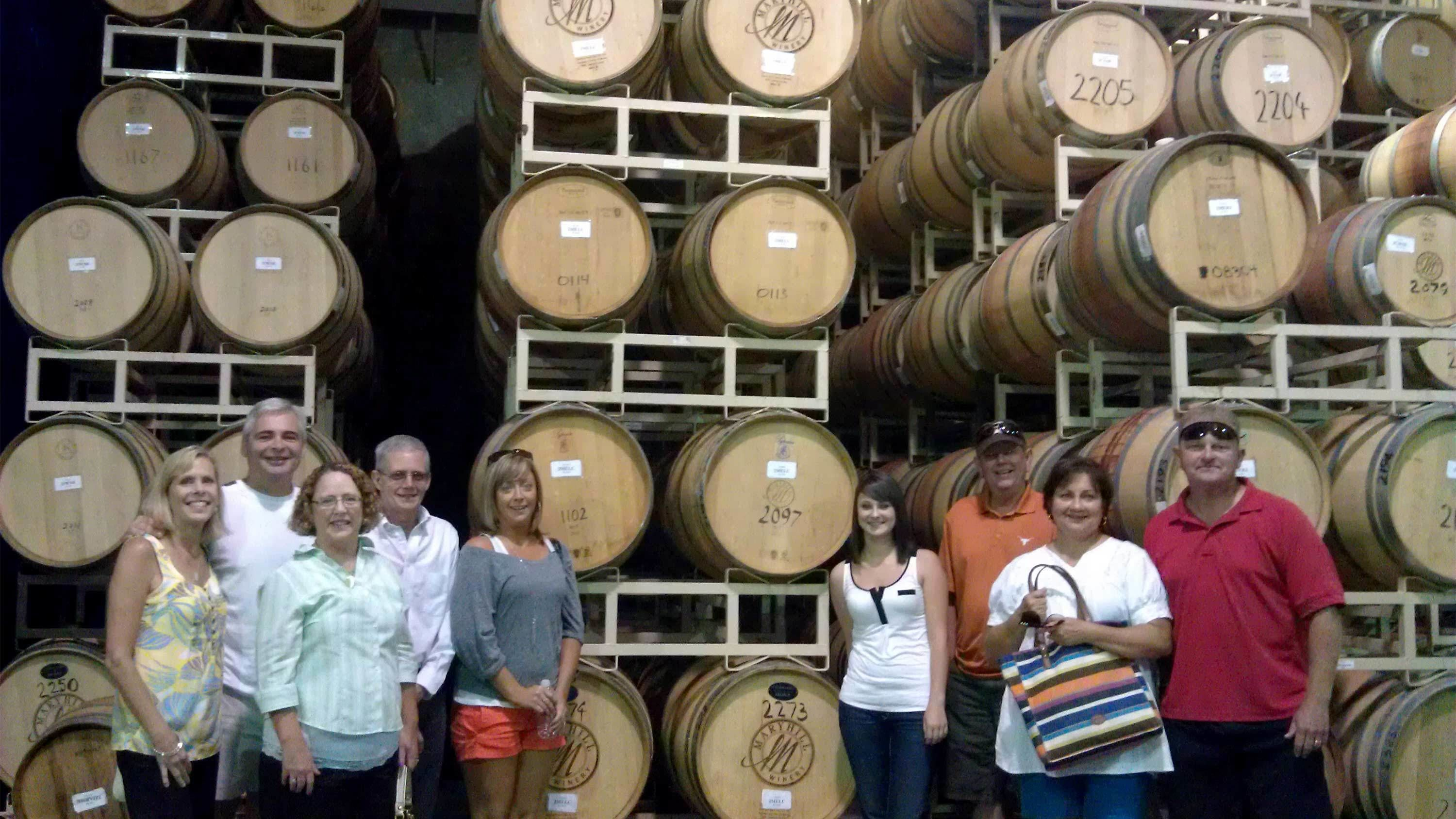 Group on a wine tasting tour in Portland, Oregon