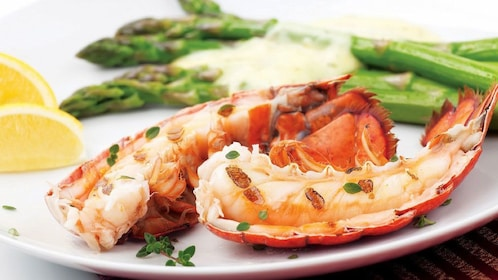 Plate of lobster and asparagus