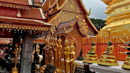 Golden Buddhas at a temple in Chiang Mai