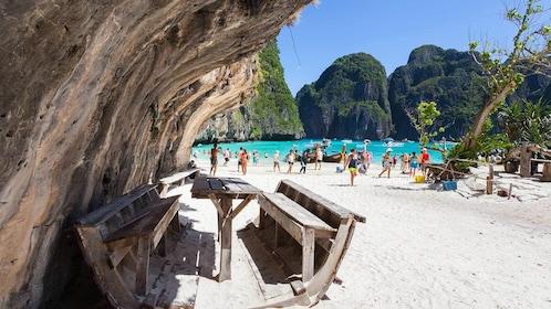 Group enjoying the sunny Phi Phi Island in Phuket, Thailand