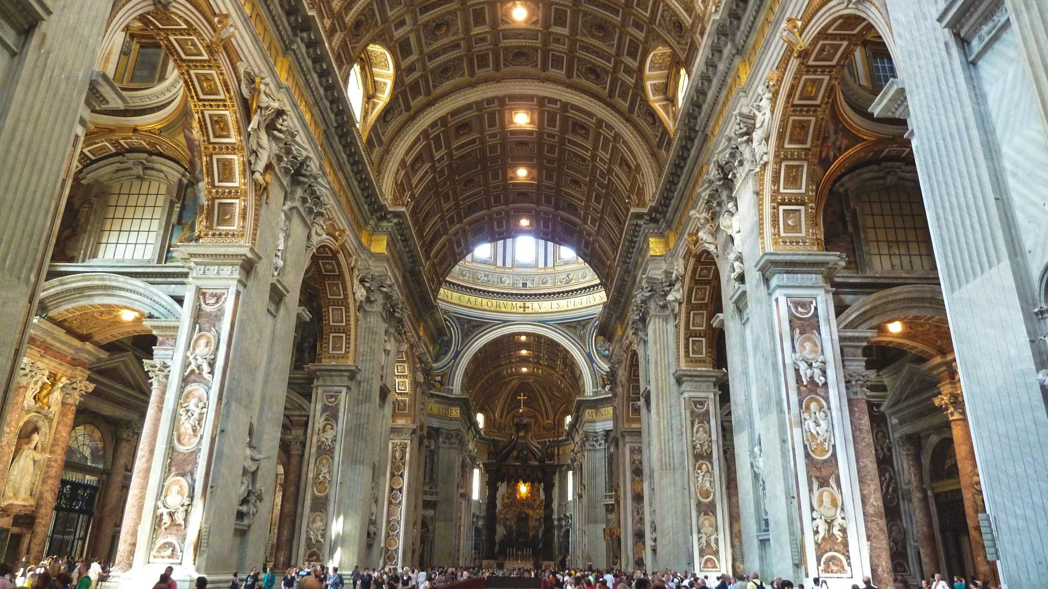 Interior view of detailed architecture in St. Peter's Basilica.