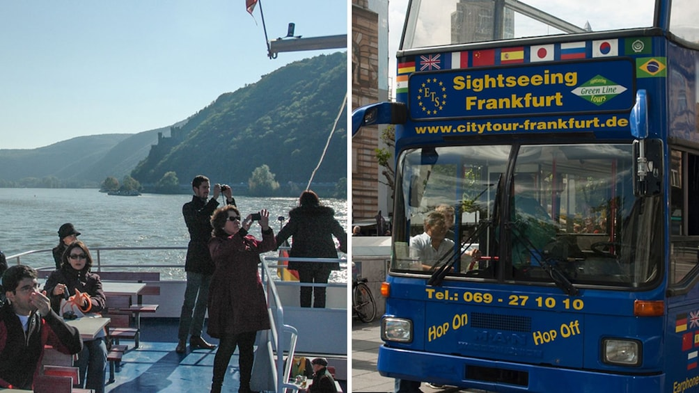 Combo image of Frankfurt tour bus and a boat of Tourists on the Rhine