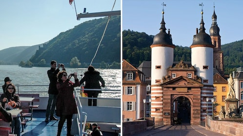 Split image showing tour boat passengers on the Rhine River and the entrance to the city of Heidelberg