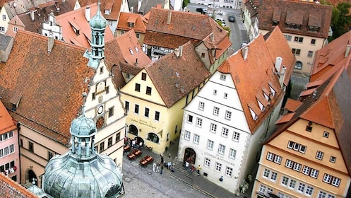 looking at the town street from a tower in Germany