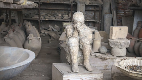 Close up of plaster of Pompeii victim.