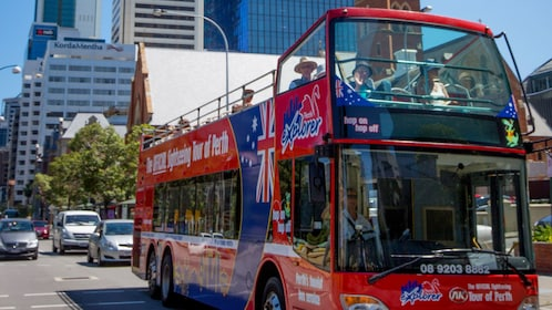 Hop-on hop-off bus in the city in Perth
