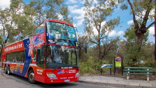 Hop-on hop-off bus at a park in Perth