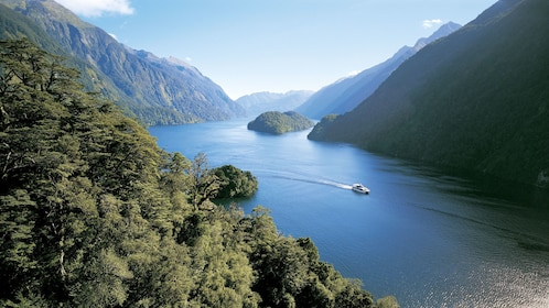 Catamaran on Doubtful Sound passing tree-covered mountains in New Zealand
