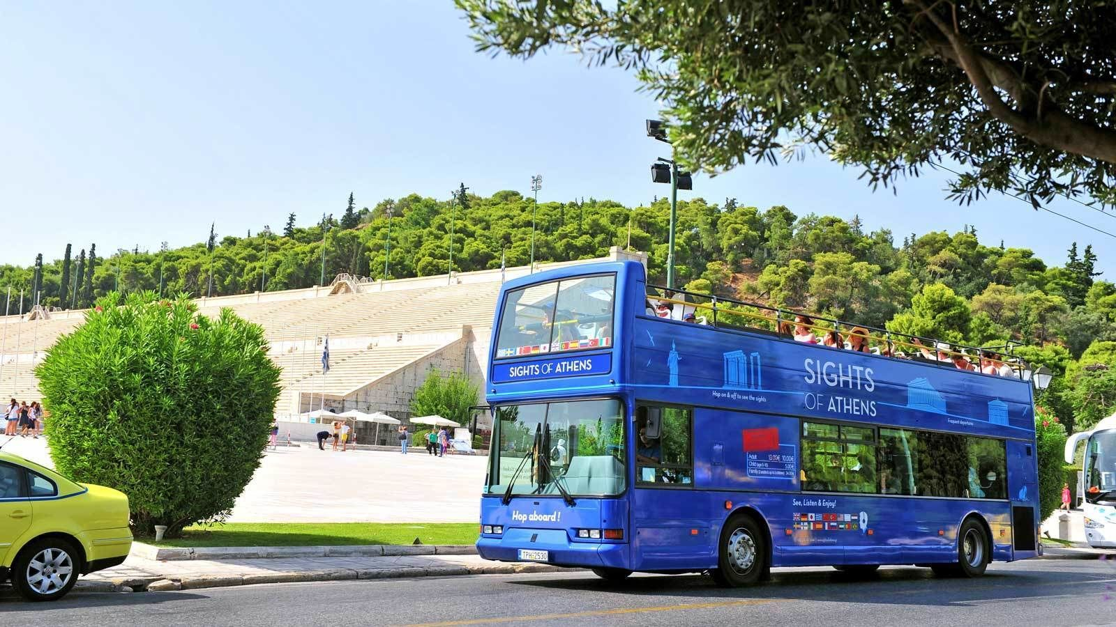 aboard a blue double deck bus in Athens