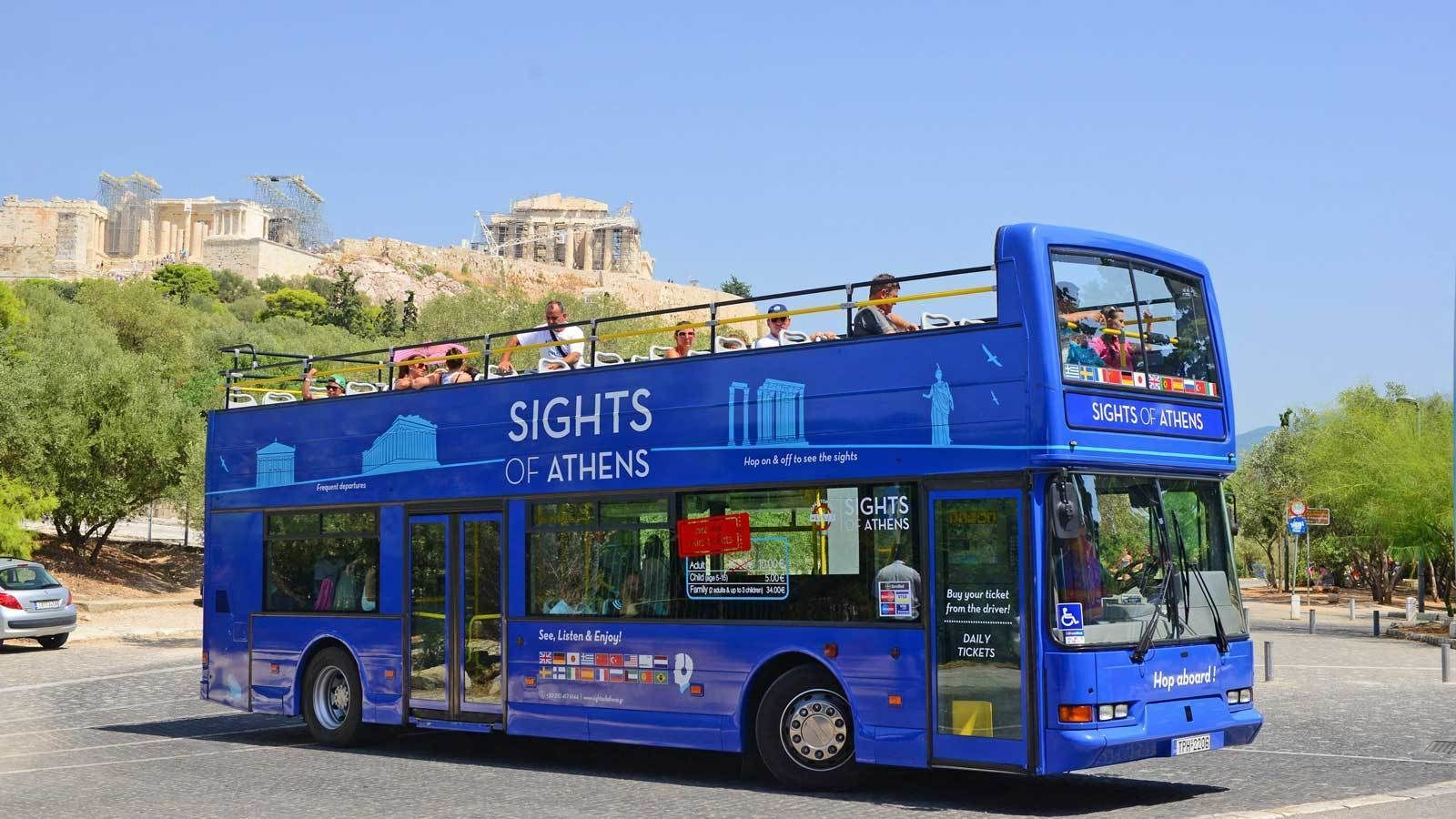 blue double deck bus near the Acropolis in Athens