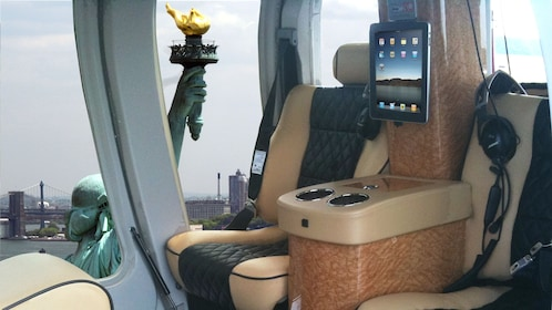 View of the Statue of Liberty from a lavish helicopter