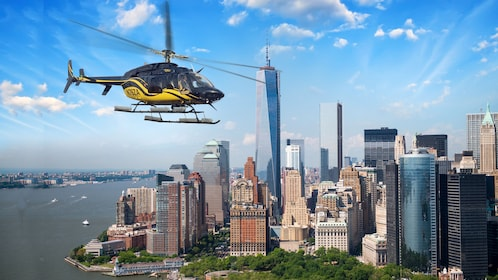 A helicopter photoshopped in front of a New York skyline