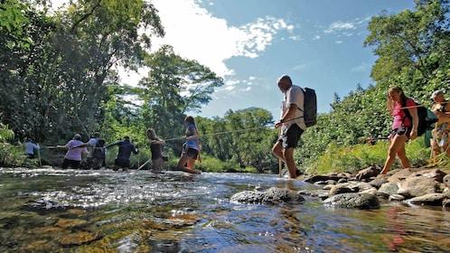 Hikers in river in Kauai