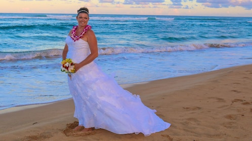 Bride on the beach in Kauai