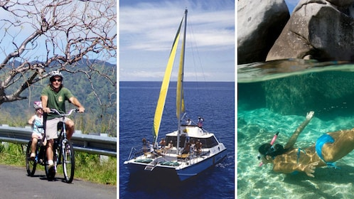 Packaged tour including a Bike, Hike, Sail, and Snorkel adventure in Oahu