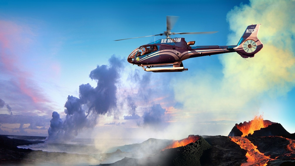 Show item 3 of 9. Helicopter flying over active volcano on the Big Island of Hawaii