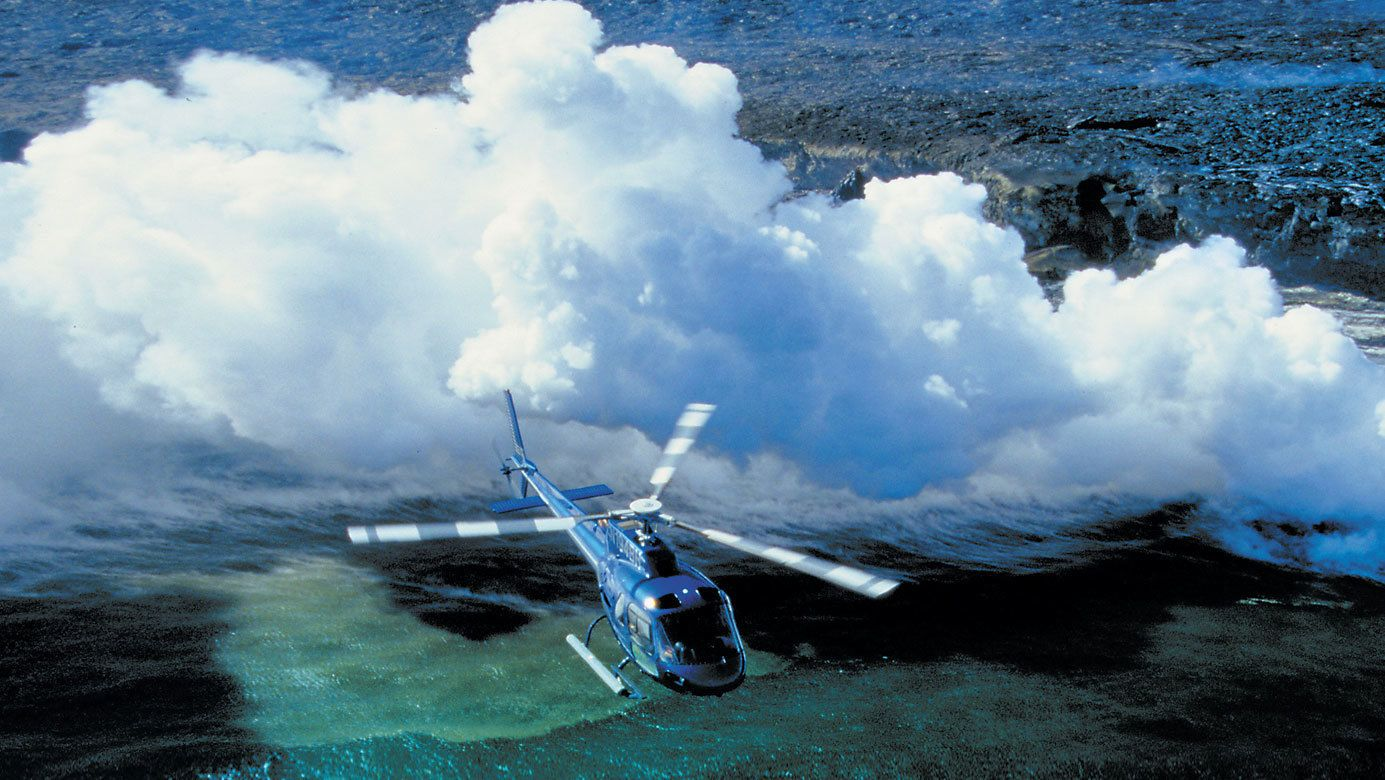 Helicopter flying over hawaii