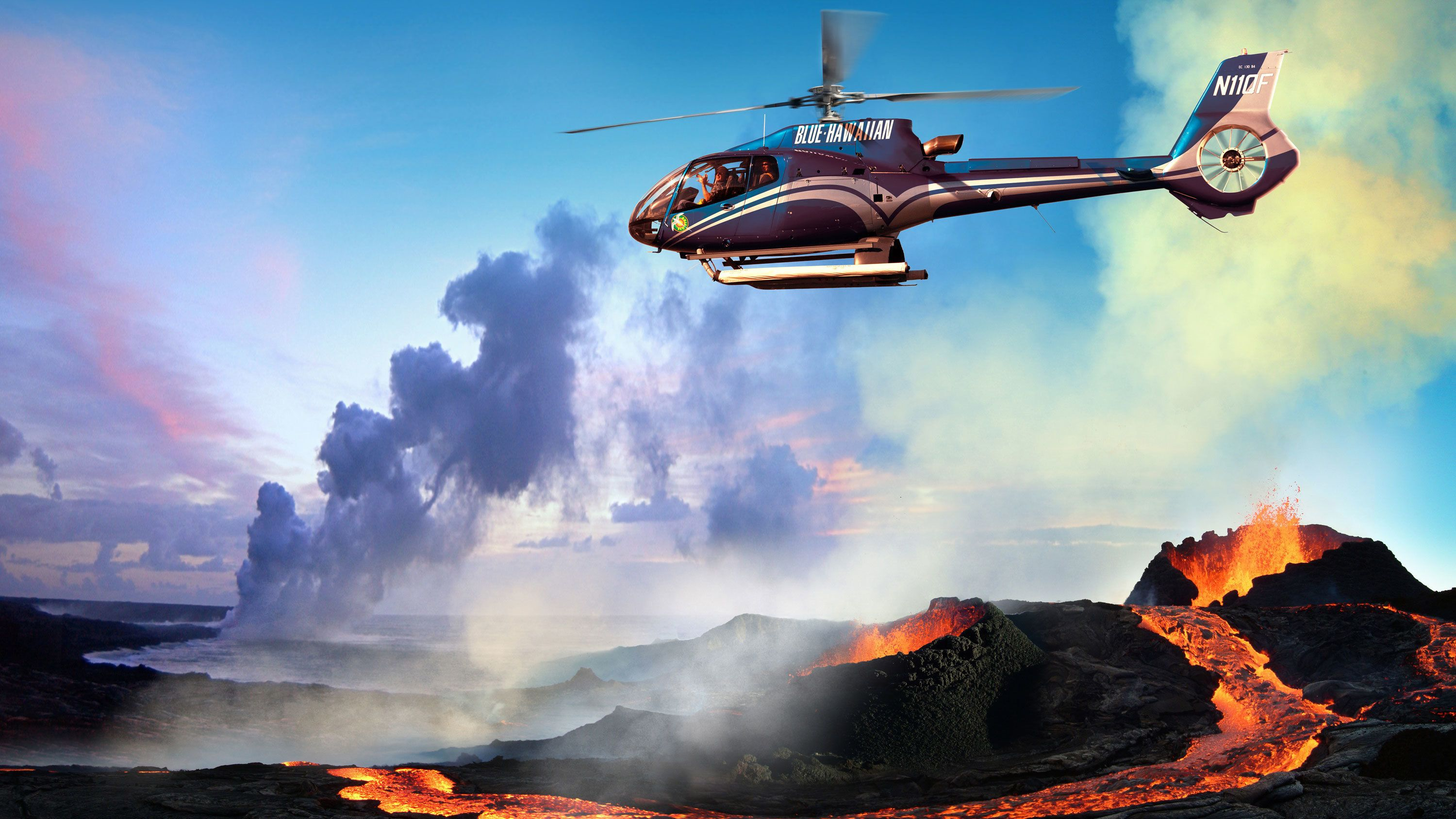 Helicopter flying near mouth of erupting volcano