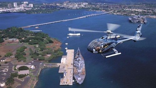 Aerial view of helicopter over Pearl in Oahu