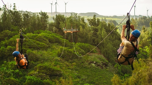 Zipline in tandem at Keana Farms in the North Shores of Oahu