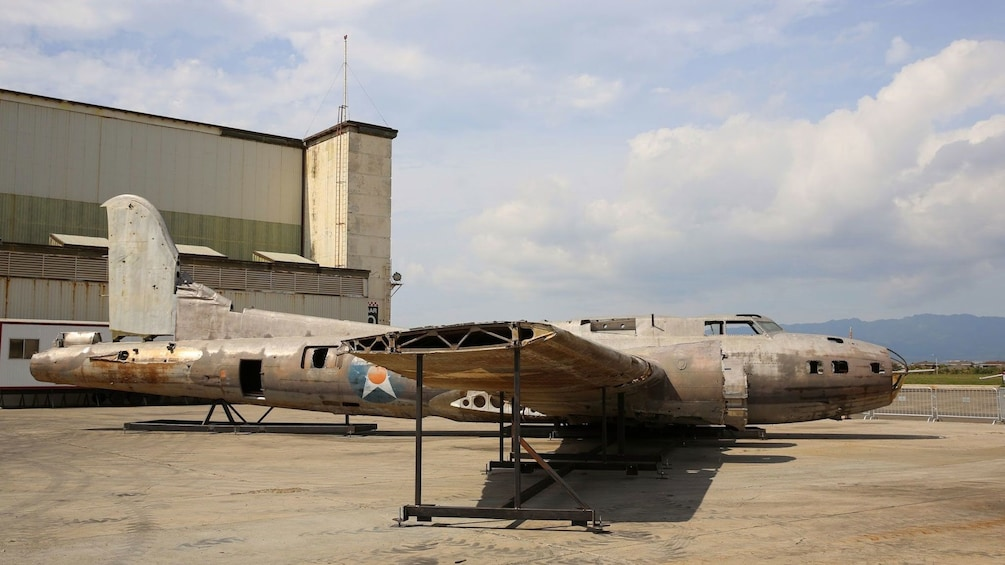 Salvaged B-17 bomber resting outside the main hanger of the Pacific Aviation Museum