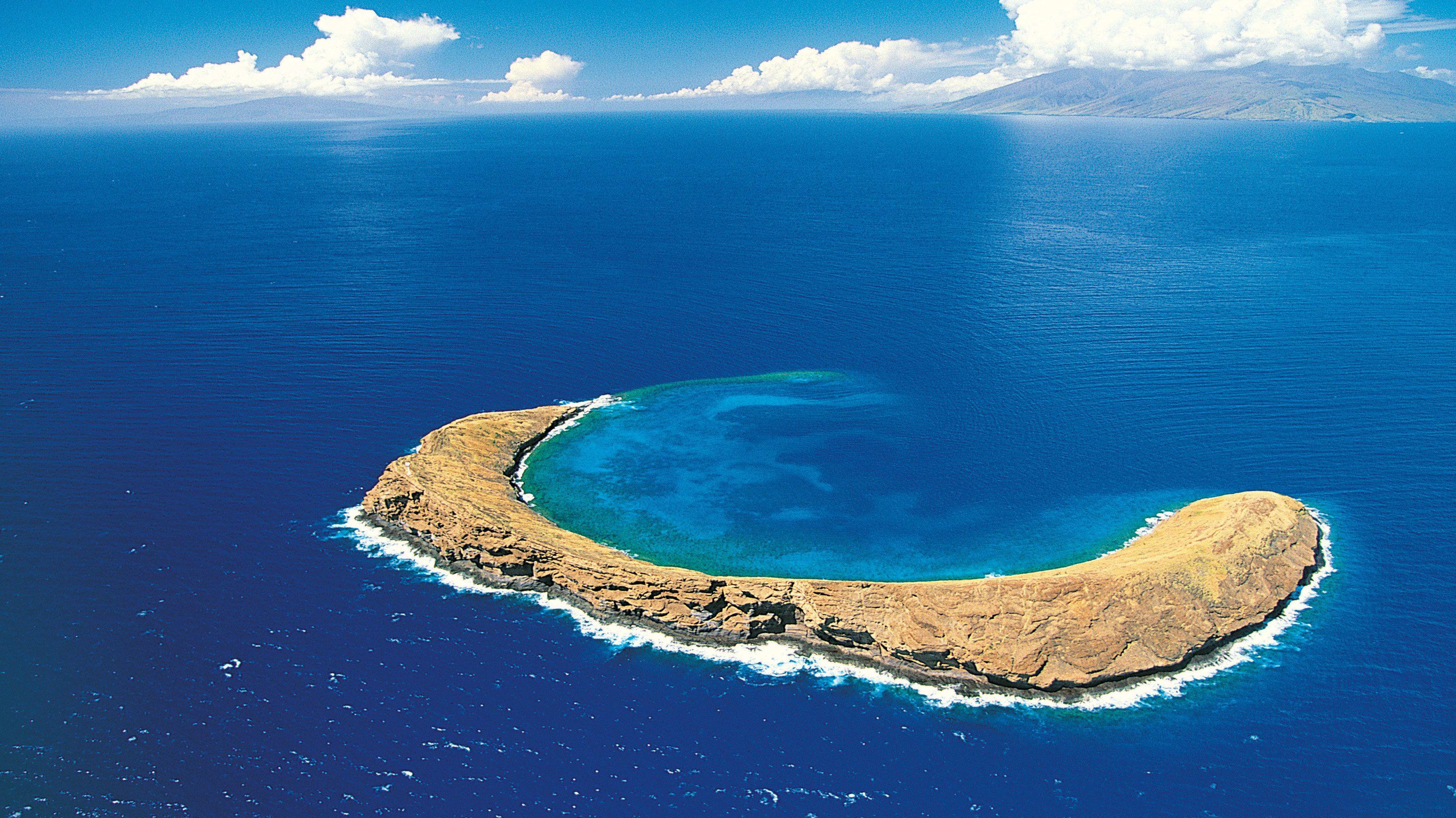 Crescent shaped sand bar near Maui