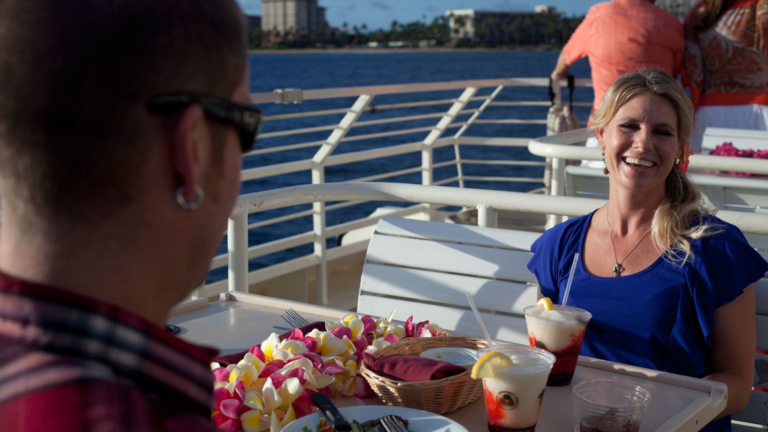 Couple eating on the Sunset Dinner Cruise in Maui