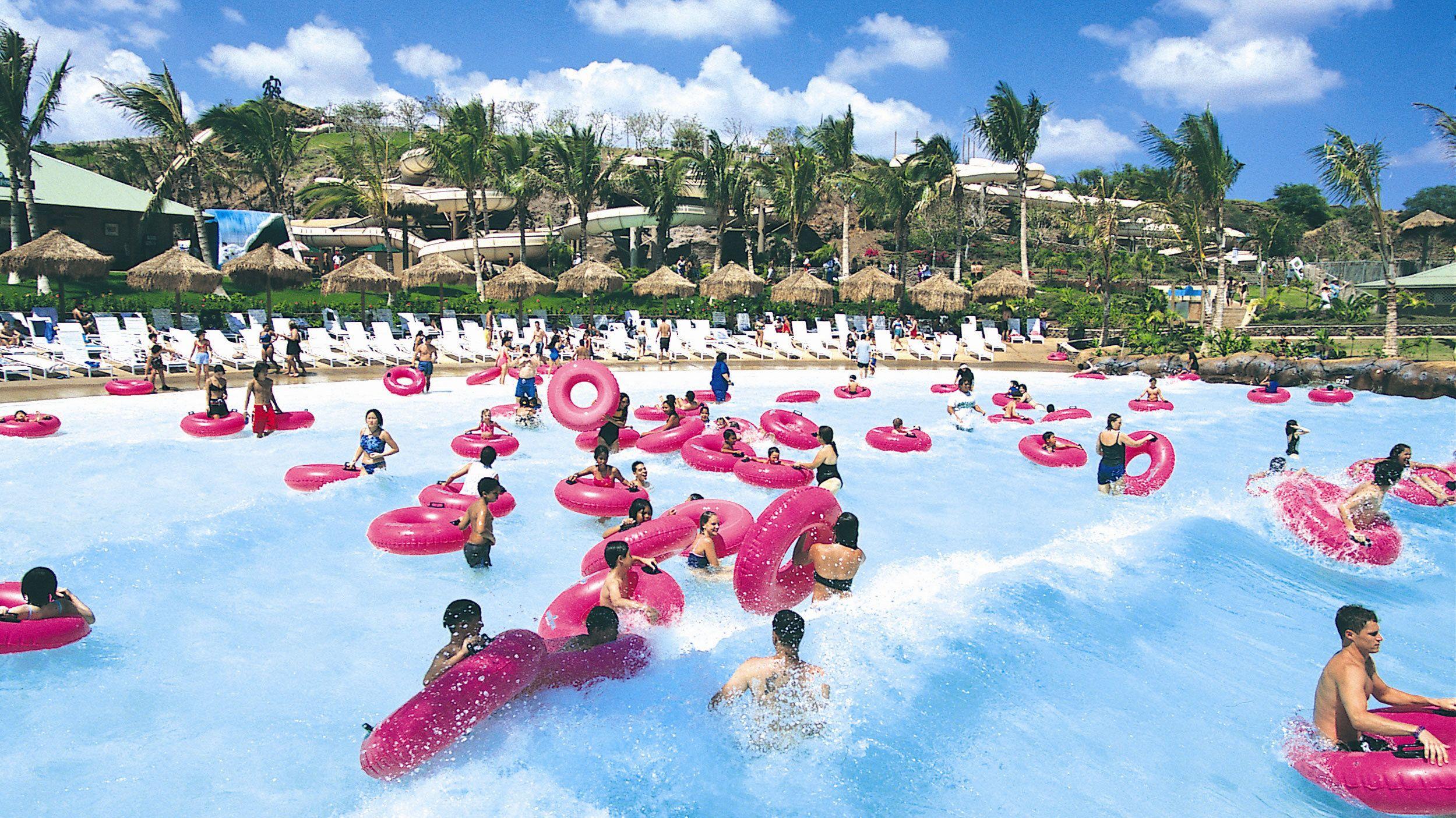 Wave pool at water park in Oahu