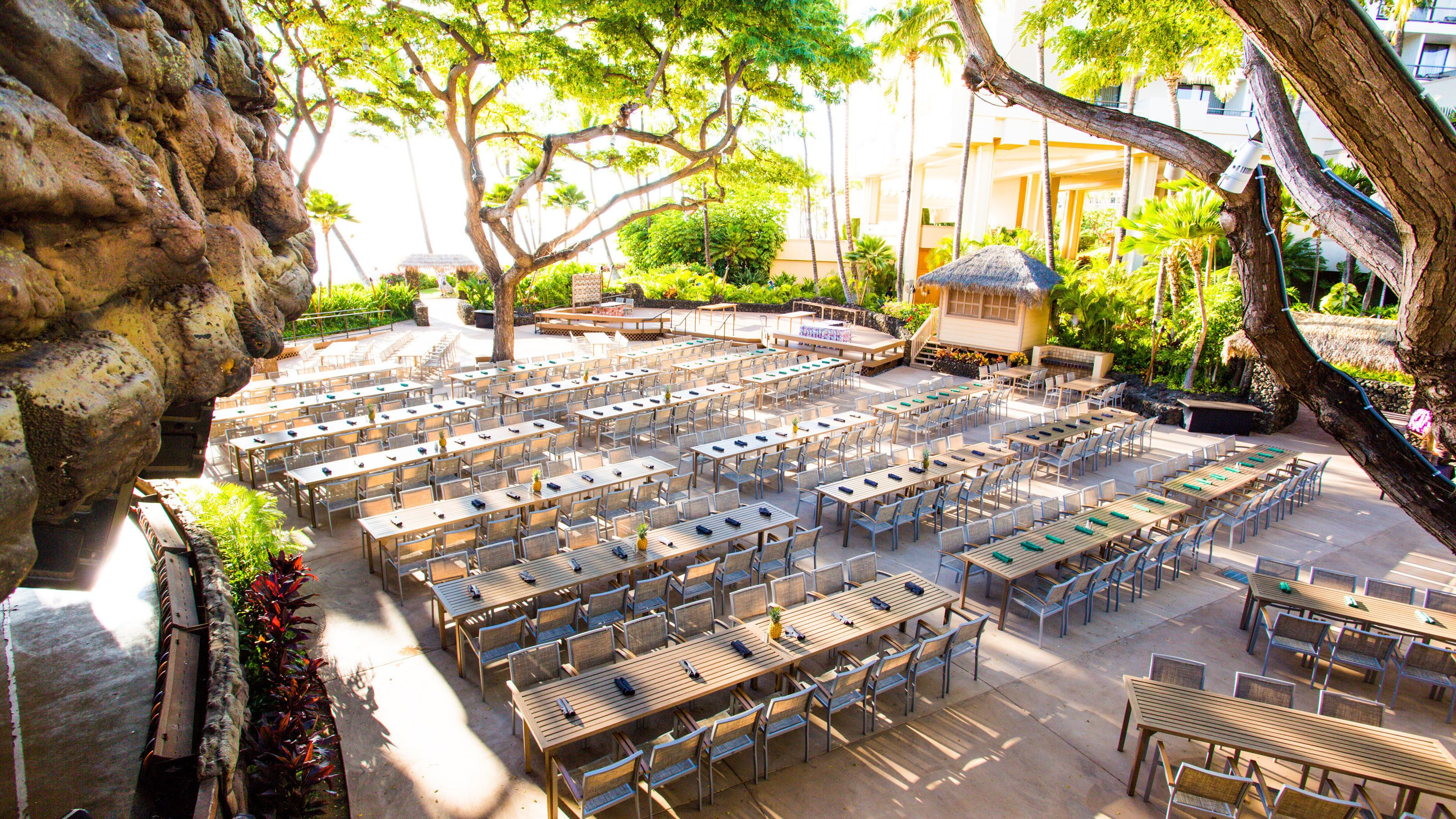 Aerial of dinning area for the Drums of the Pacific Luau in Maui