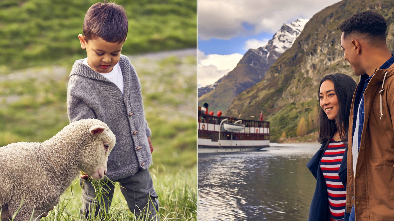 Combo image of boy with a sheep and two people on the shore looking at a cruise ship
