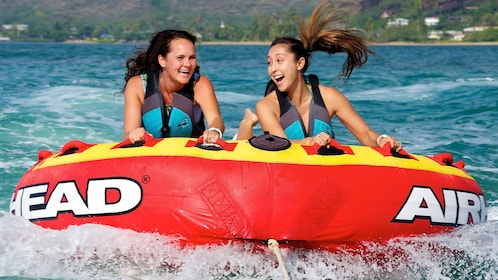 Bumper Tubes are available to ride attached to a speed boat in Hanauma Bay, Oahu