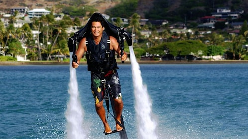 The H2O Jet Pack can soar up to 30 feet above water for 20 minutes