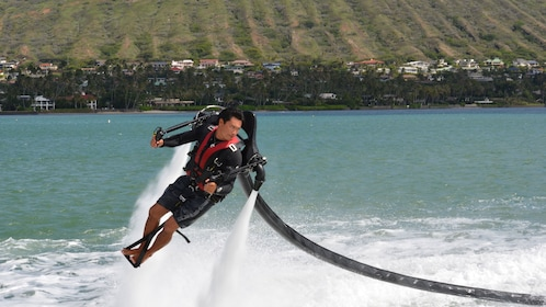 Hover over Maunalua Bay in the H2O Jet Pack